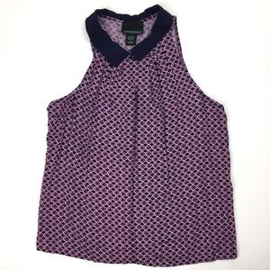 Cynthia Rowley Pink & Navy Sleeveless Blouse L